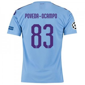 Manchester City Authentic UEFA Home Shirt 2019-20 with Poveda-Ocampo 83 printing