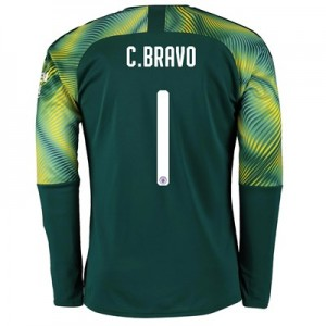 Manchester City Home Cup Goalkeeper Shirt 2019-20 with C.Bravo 1 printing