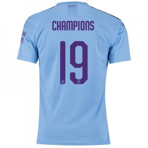 Manchester City Authentic Cup Home Shirt 2019-20 with Champions 19 printing