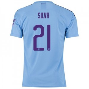 Manchester City Authentic Cup Home Shirt 2019-20 with Silva 21 printing