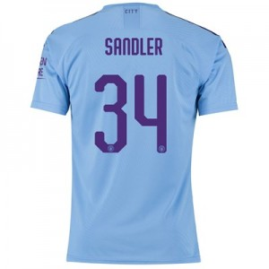 Manchester City Authentic Cup Home Shirt 2019-20 with Sandler 34 printing