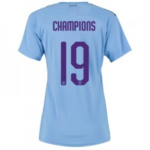 Manchester City Authentic Cup Home Shirt 2019-20 - Womens with Champions 19 printing