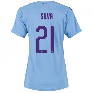 Manchester City Authentic Cup Home Shirt 2019-20 - Womens with Silva 21 printing