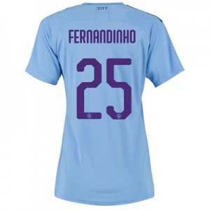 Manchester City Authentic Cup Home Shirt 2019-20 - Womens with Fernandinho 25 printing