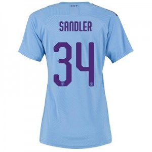 Manchester City Authentic Cup Home Shirt 2019-20 - Womens with Sandler 34 printing