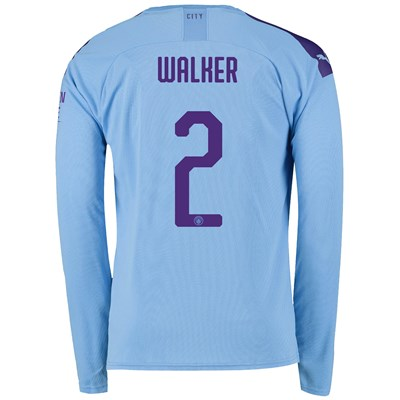 Manchester City Cup Home Shirt 2019-20 - Long Sleeve with Walker 2 printing
