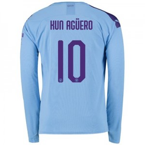 Manchester City Cup Home Shirt 2019-20 - Long Sleeve with Kun Agüero  10 printing