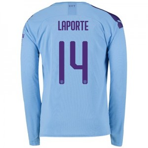 Manchester City Cup Home Shirt 2019-20 - Long Sleeve with Laporte 14 printing