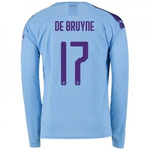 Manchester City Cup Home Shirt 2019-20 - Long Sleeve with De Bruyne 17 printing