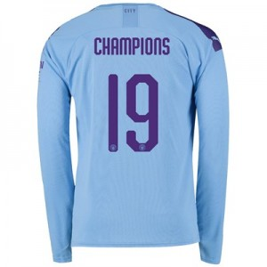Manchester City Cup Home Shirt 2019-20 - Long Sleeve with Champions 19 printing