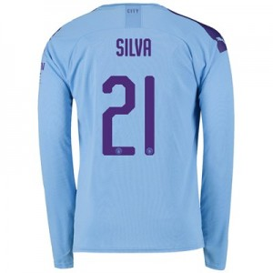 Manchester City Cup Home Shirt 2019-20 - Long Sleeve with Silva 21 printing