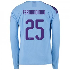 Manchester City Cup Home Shirt 2019-20 - Long Sleeve with Fernandinho 25 printing