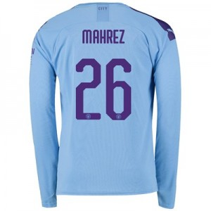 Manchester City Cup Home Shirt 2019-20 - Long Sleeve with Mahrez 26 printing