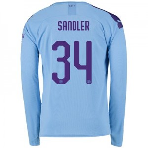 Manchester City Cup Home Shirt 2019-20 - Long Sleeve with Sandler 34 printing