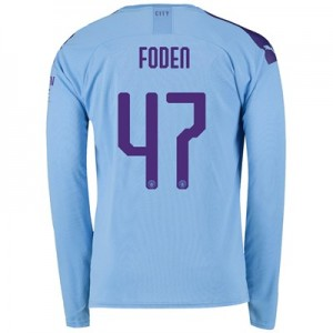Manchester City Cup Home Shirt 2019-20 - Long Sleeve with Foden 47 printing