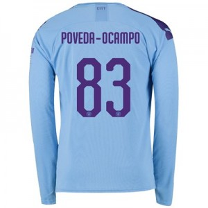 Manchester City Cup Home Shirt 2019-20 - Long Sleeve with Poveda-Ocampo 83 printing