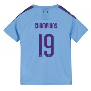 Manchester City Cup Home Shirt 2019-20 - Kids with Champions 19 printing