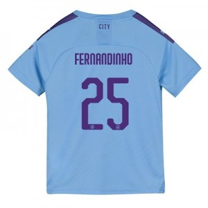 Manchester City Cup Home Shirt 2019-20 - Kids with Fernandinho 25 printing