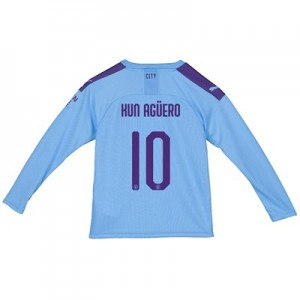 Manchester City Cup Home Shirt 2019-20 - Long Sleeve - Kids with Kun Agüero  10 printing