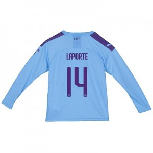 Manchester City Cup Home Shirt 2019-20 - Long Sleeve - Kids with Laporte 14 printing