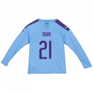 Manchester City Cup Home Shirt 2019-20 - Long Sleeve - Kids with Silva 21 printing