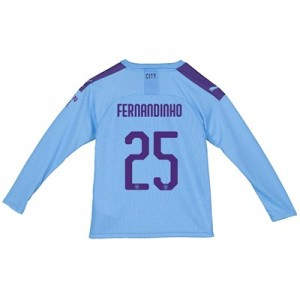 Manchester City Cup Home Shirt 2019-20 - Long Sleeve - Kids with Fernandinho 25 printing