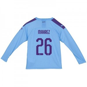 Manchester City Cup Home Shirt 2019-20 - Long Sleeve - Kids with Mahrez 26 printing
