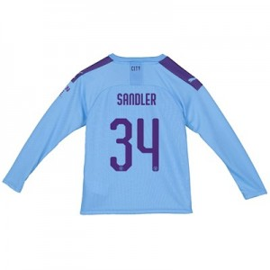 Manchester City Cup Home Shirt 2019-20 - Long Sleeve - Kids with Sandler 34 printing