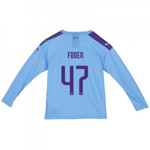 Manchester City Cup Home Shirt 2019-20 - Long Sleeve - Kids with Foden 47 printing