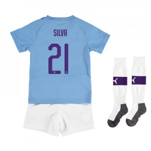 Manchester City Cup Home Mini Kit 2019-20 with Silva 21 printing