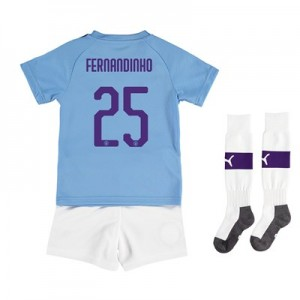 Manchester City Cup Home Mini Kit 2019-20 with Fernandinho 25 printing