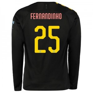 Manchester City Cup Away Shirt 2019-20 - Long Sleeve with Fernandinho 25 printing