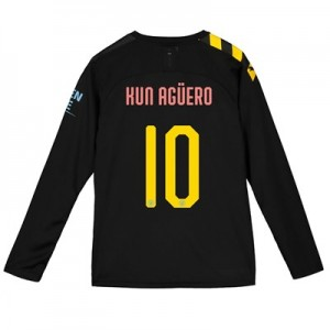 Manchester City Cup Away Shirt 2019-20 - Long Sleeve - Kids with Kun Agüero  10 printing