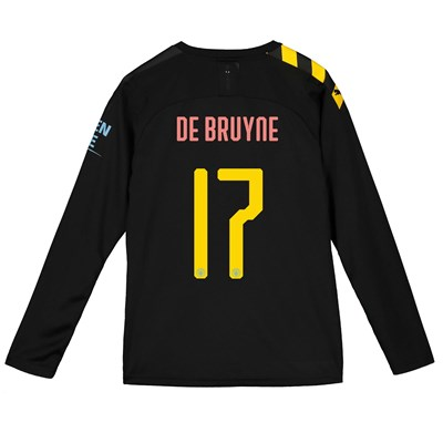 Manchester City Cup Away Shirt 2019-20 - Long Sleeve - Kids with De Bruyne 17 printing