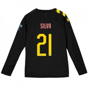 Manchester City Cup Away Shirt 2019-20 - Long Sleeve - Kids with Silva 21 printing