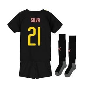 Manchester City Cup Away Mini Kit 2019-20 with Silva 21 printing