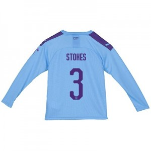 Manchester City City Home Shirt 2019-20 - Long Sleeve - Kids with Stokes 3 printing