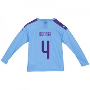 Manchester City City Home Shirt 2019-20 - Long Sleeve - Kids with Bonner 4 printing