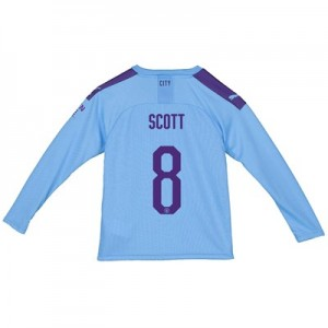 Manchester City City Home Shirt 2019-20 - Long Sleeve - Kids with Scott 8 printing