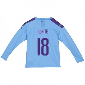 Manchester City City Home Shirt 2019-20 - Long Sleeve - Kids with WHITE 18 printing