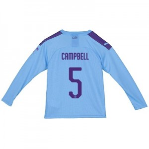 Manchester City City Home Shirt 2019-20 - Long Sleeve - Kids with Campbell 5 printing