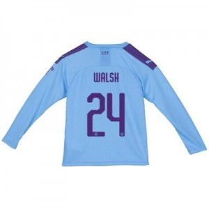 Manchester City City Home Shirt 2019-20 - Long Sleeve - Kids with Walsh 24 printing