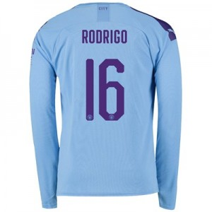 Manchester City Cup Home Shirt 2019-20 - Long Sleeve with Rodrigo 16 printing