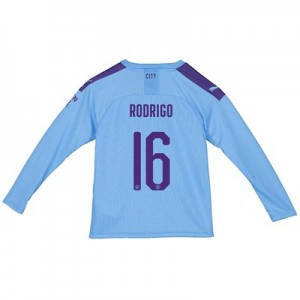 Manchester City Cup Home Shirt 2019-20 - Long Sleeve - Kids with Rodrigo 16 printing