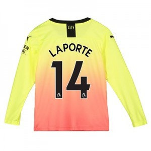 Manchester City Third Shirt 2019-20 - Long Sleeve - Kids with Laporte 14 printing