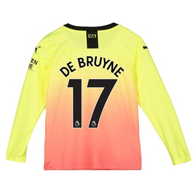 Manchester City Third Shirt 2019-20 - Long Sleeve - Kids with De Bruyne 17 printing
