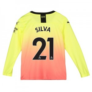 Manchester City Third Shirt 2019-20 - Long Sleeve - Kids with Silva 21 printing