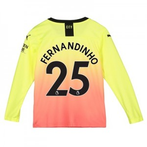 Manchester City Third Shirt 2019-20 - Long Sleeve - Kids with Fernandinho 25 printing