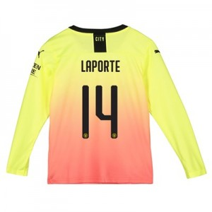Manchester City Cup Third Shirt 2019-20 - Long Sleeve - Kids with Laporte 14 printing