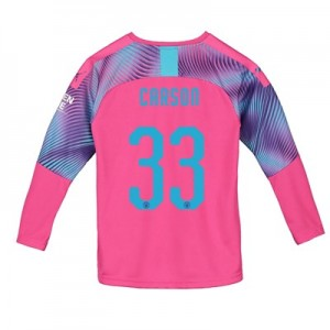 Manchester City Away Cup Goalkeeper Shirt 2019-20 - Kids with Carson 33 printing